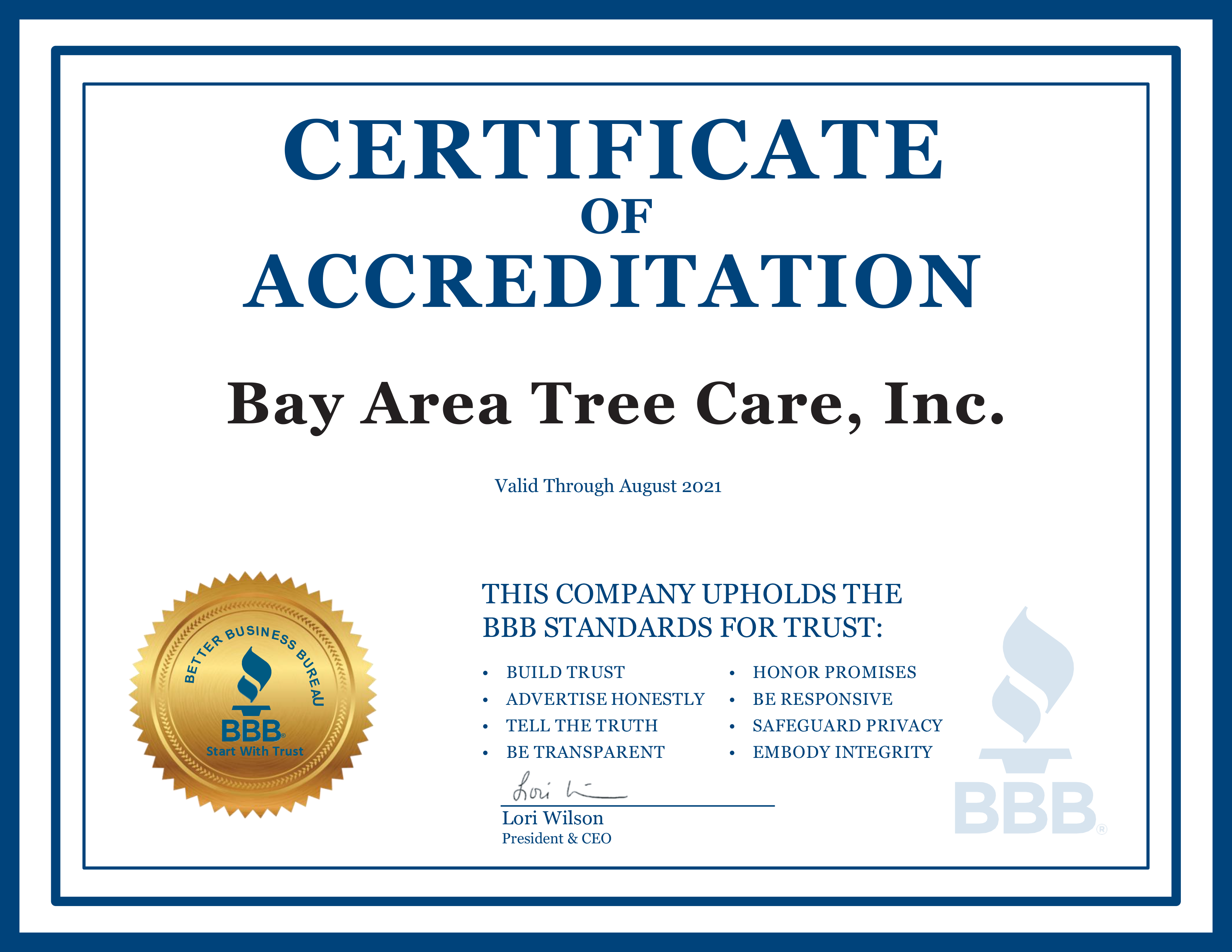 better business bureaus certificate
